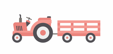 Red  tractor with trailer. flat style. isolated on white background