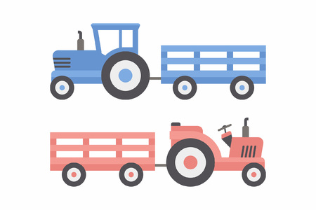 Two Tractor with trailer. Blue and Red color. flat style. isolated on white background Illustration