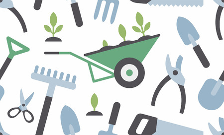 seamless pattern with gardening instruments. flat style. isolated on white background 矢量图像