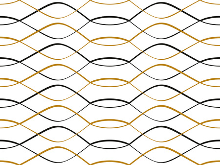 Abstract geometric pattern with black-gold waves. Colorful ornament. isolated on white background