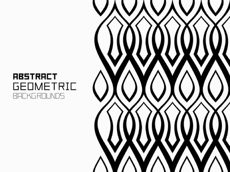 Abstract geometric background with ornament of wavy lines. Monochrome ornament. isolated on white background