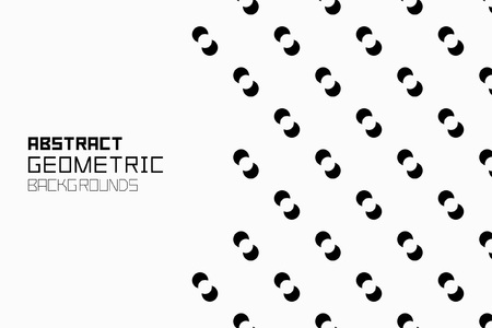 Geometric background with small circles. Monochrome ornament. isolated on white background