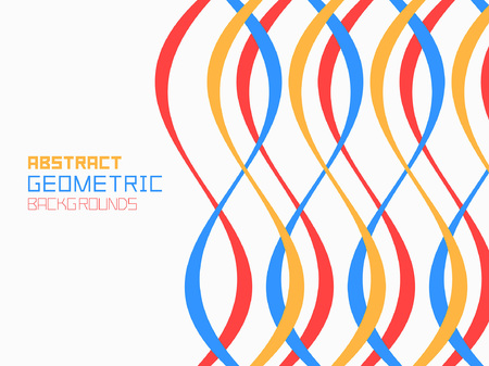 Abstract geometric background with red-blue and yellow waves. Colorful ornament. isolated on white background