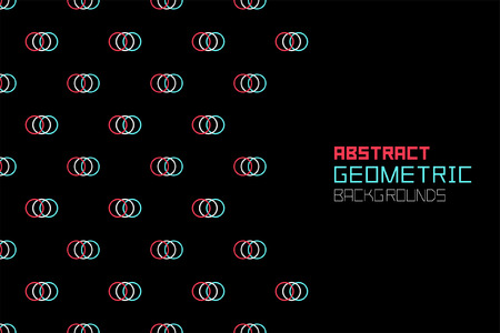 Geometric background with red-blue and black small circles. Colorful ornament. isolated on black background Ilustrace