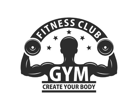 Gym logo template. Bodybuilding and Fitness Club. Monochrome style. isolated on white background