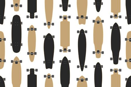 Seamless pattern with skateboards, flat style. isolated on white background