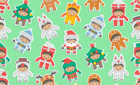 Seamless pattern with kids in Christmas costumes, flat style. isolated on green background