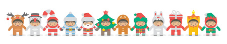 Kids holding hand in Christmas costumes, flat style. isolated on white background Illustration