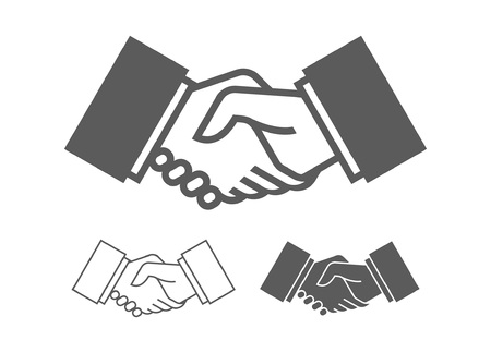 Business handshake icons. Monochrome style. isolated on white background