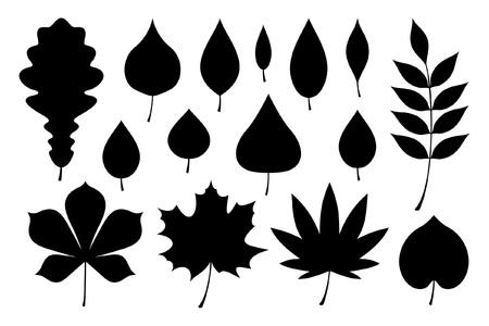Set of black autumn leaves. flat style. isolated on white background