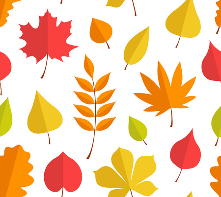 Seamless pattern with autumn leaves. flat style. isolated on white background
