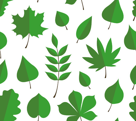 Seamless pattern with green autumn leaves. flat style. isolated on white background