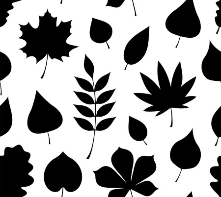 Seamless pattern with black autumn leaves. flat style. isolated on white background
