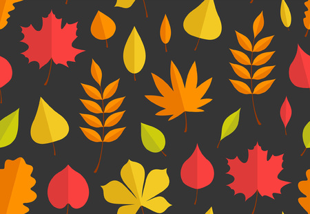 Seamless pattern with autumn leaves. flat style. isolated on black background
