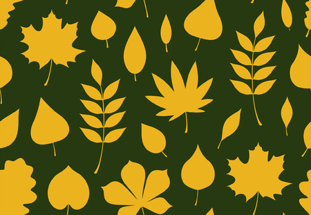Seamless pattern with yellow autumn leaves. flat style. isolated on green background