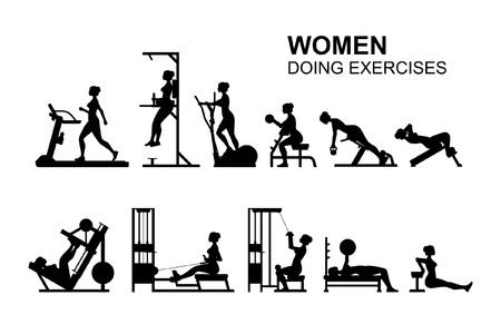 Women doing exercises, Monochrome style. isolated on white background
