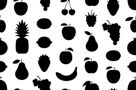 Seamless pattern with fruits, Monochrome style. isolated on white background