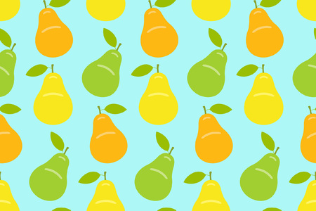 Seamless pattern with Yellow, green and orange pear. flat style. isolated on blue background