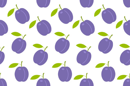 Seamless pattern with Plums. flat style. isolated on white background