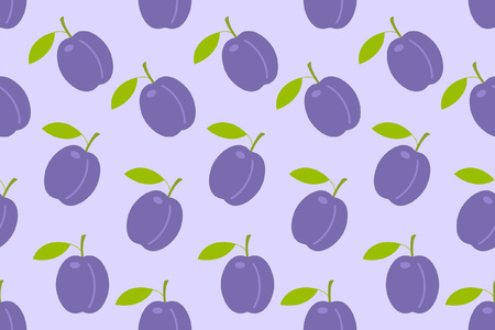 Seamless pattern with Plums. flat style. isolated on purple background