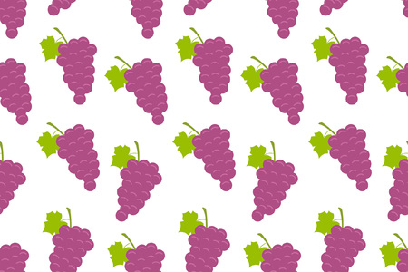 Seamless pattern with Grapes. flat style. isolated on white background