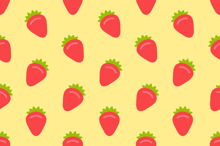 Seamless pattern with Strawberry. flat style. isolated on yellow background Vetores