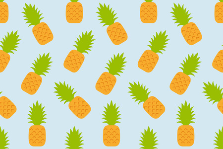 Seamless pattern with Pineapple. flat style. isolated on blue background Illustration