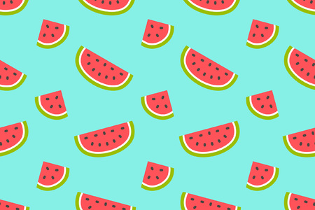 Seamless pattern with Watermelons and slices. flat style. isolated on blue background Illustration