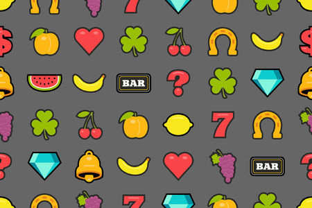 Seamless pattern with slot machine symbols. flat style. isolated on gray background