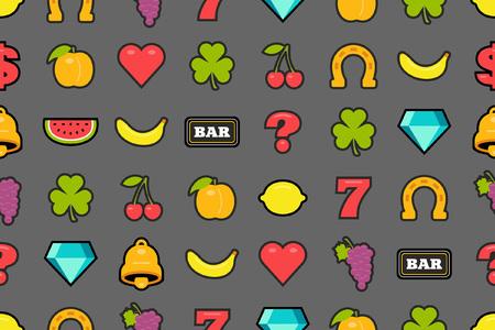 Seamless pattern with slot machine symbols. flat style. isolated on gray background