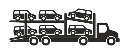 Tow truck icon, Monochrome style. isolated on white background Illustration