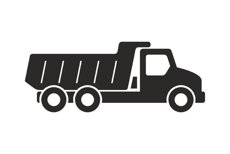 Tipper truck icon, Monochrome style. isolated on white background