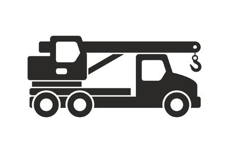 Truck crane icon, Monochrome style. isolated on white background Ilustração