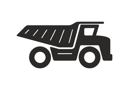Dump truck icon, Monochrome style. isolated on white background