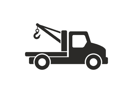 Car carrier truck icon, Monochrome style. isolated on white background Illustration