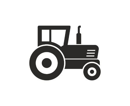Tractor icon, Monochrome style. isolated on white background Illustration