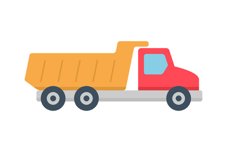 Tipper truck icon, Flat style. isolated on white background