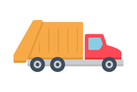 Garbage truck icon, Flat style. isolated on white background Illustration