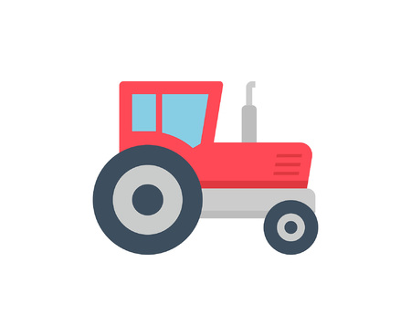 Tractor icon, Flat style. isolated on white background Illustration