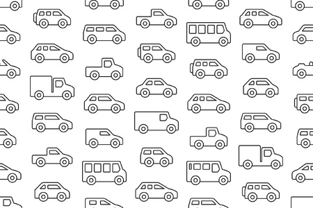 Seamless pattern with Cars and trucks in Line. isolated on white background Illustration