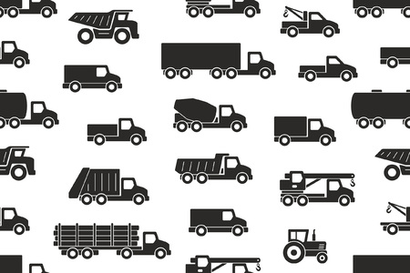 Seamless pattern with Trucks in Black. isolated on white background