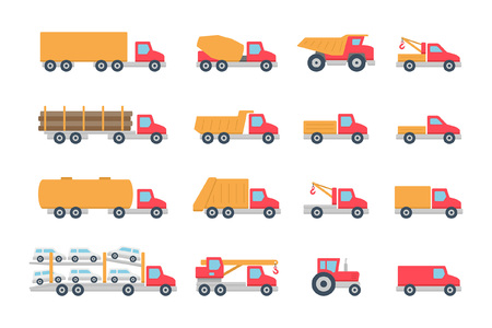 Trucks in Color. isolated on white background Illustration
