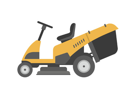 Yellow lawnmower. flat style. isolated on white background