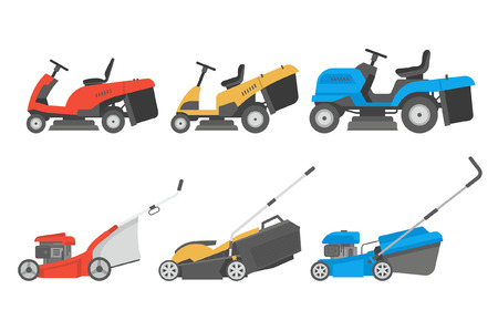 Set of lawnmower. flat style. isolated on white background