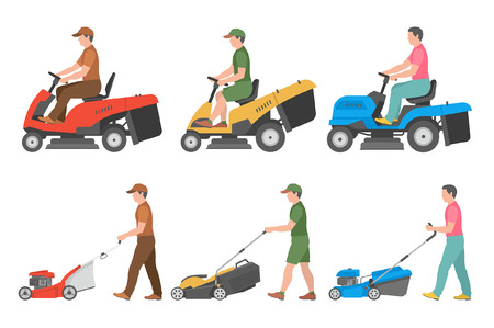 Set of Man with lawnmower. flat style. isolated on white background Vettoriali