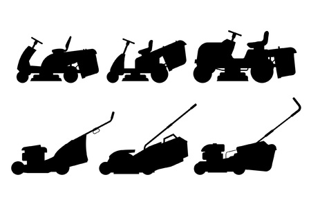 Set grasmaaier. vlakke stijl. geïsoleerd op een witte achtergrond Vector Illustratie