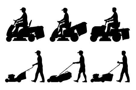 Set of Man with lawnmower. flat style. isolated on white background  イラスト・ベクター素材