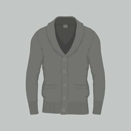 Front views of Mens black cardigan on gray background Ilustração