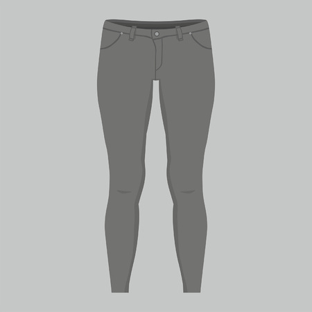 Front views of women's black jeans on gray background Illusztráció
