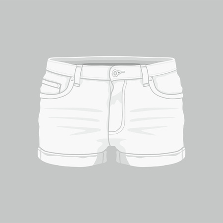 Front views of women's white denim shorts on gray background